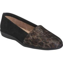 Women's Aerosoles Trend Setter Slip On Black Exotic Snake Printed Leather/Suede