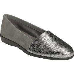Women's Aerosoles Trend Setter Slip On Dark Gray Combo Metallic Leather/Suede