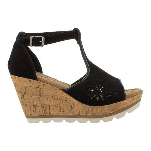 Shop Damens's Minnetonka Ellis Sandale Wedge T Strap Sandale Ellis schwarz Suede ... 003590