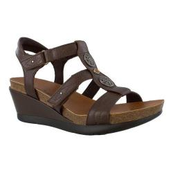 Women's Minnetonka Della Strappy Wedge Sandal Chocolate Leather