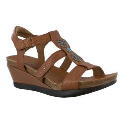 Women's Minnetonka Della Strappy Wedge Sandal Cognac Leather