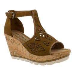 Women's Minnetonka Ellis Wedge T Strap Sandal Dusty Brown Suede|https://ak1.ostkcdn.com/images/products/193/202/P23370068.jpg?impolicy=medium