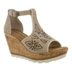 Women's Minnetonka Ellis Wedge T Strap Sandal Stone Suede|https://ak1.ostkcdn.com/images/products/193/202/P23370069.jpg?impolicy=medium