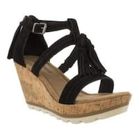 Women's Minnetonka Lincoln Wedge Sandal Black Suede