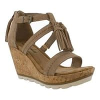 Women's Minnetonka Lincoln Wedge Sandal Taupe Suede