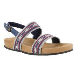 Women's Minnetonka Melody Quarter Strap Sandal Blue Denim Fabric