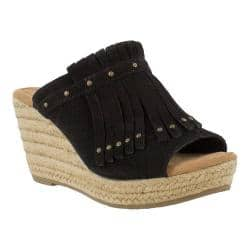 Women's Minnetonka Quinn Wedge Sandal Black Suede|https://ak1.ostkcdn.com/images/products/193/203/P23370099.jpg?impolicy=medium