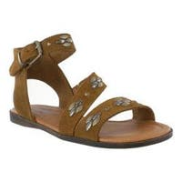 Women's Minnetonka Tangier Flat Sandal Dusty Brown Suede