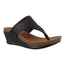 Women's Minnetonka Victoria Wedge Sandal Black Leather