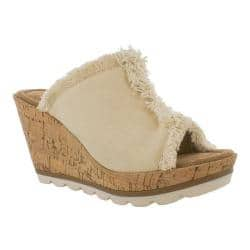 Women's Minnetonka York Wedge Slide Natural Fabric|https://ak1.ostkcdn.com/images/products/193/206/P23370130.jpg?impolicy=medium