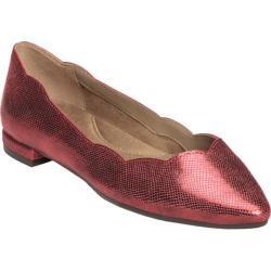 Women's Aerosoles Flower Girl Ballet Flat Red Metallic Snake Printed Leather