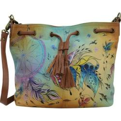 Women's ANNA by Anuschka Hand Painted Drawstring Satchel 8302 Sweet Dreams
