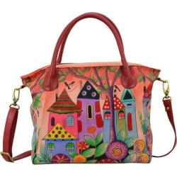 Women's ANNA by Anuschka Hand Painted Slouch Tote Bag 8293 Village Of Dreams