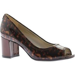 Women's Anne Klein Meredith Peep Toe Pump Brown Multi Patent