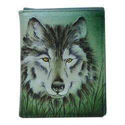 Men's Anuschka Hand Painted Leather RFID Blocking Tri-Fold Wallet Western Wolf
