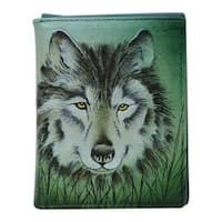 Men's Anuschka Hand Painted Leather RFID Blocking Tri-Fold Wallet Western Wolf