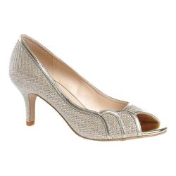 Women's Pink Paradox London Chester Open Toe Pump Champagne Glitter Mesh