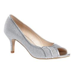 Women's Pink Paradox London Chester Open Toe Pump Silver Glitter Mesh