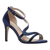 Women's Pink Paradox London Mckayla Ankle Strap Sandal Navy Satin