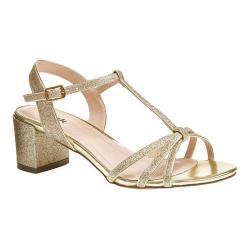 Women's Pink Paradox London Sadie Formal T-Strap Sandal Gold Synthetic