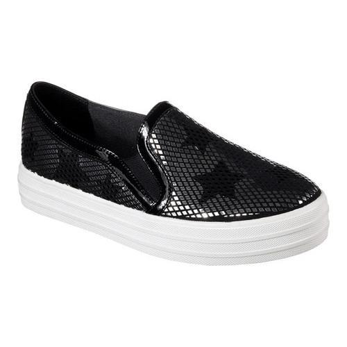 Women's Skechers Double Up Starshine Slip-On Sneaker Black/Silver