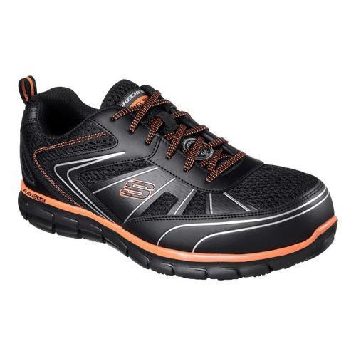 Skechers for Work Men's Synergy Fosston Work Shoe, Black/Orange, 10 M US