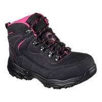 Women's Skechers Work D'Lites Slip Resistant Amasa Alloy Toe Boot Black/Fuchsia Nubuck