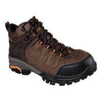 Men's Skechers Work Delleker Lakehead Steel Toe Boot Brown/Orange