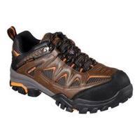 Men's Skechers Work Delleker Steel Toe Waterproof Sneaker Brown/Orange