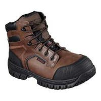 Men's Skechers Work Hartan Onkin Steel Toe Waterproof Boot Dark Brown