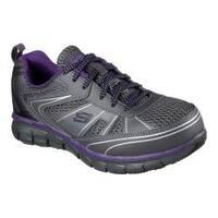 Women's Skechers Work Synergy Algonac Alloy Toe Sneaker Charcoal/Purple