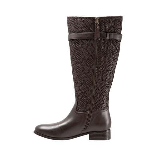 6afa1e1679f ... Thumbnail Women  x27 s Trotters Lyra Wide Calf Boot Dark Brown Embossed  Snake