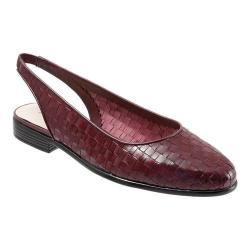 Women's Trotters Lucy Woven Slingback Black Cherry Woven Atanado Lizard Leather