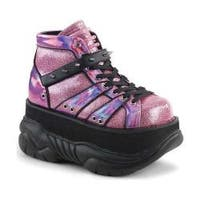 Men's Demonia Neptune 100 Platform High Top Pink Glitter-Silver/Vegan Leather