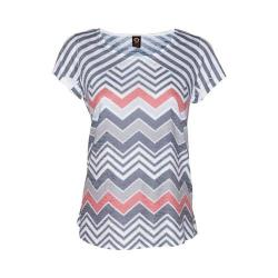 Women's Ojai Clothing Burnout Scoop Neck Short Sleeve Top Black Chevron