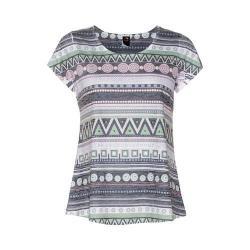 Women's Ojai Clothing Burnout Scoop Neck Short Sleeve Top Charcoal Ethinc Stripe