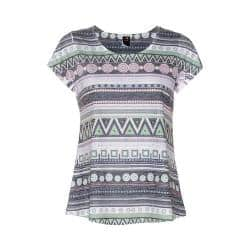 Women's Ojai Clothing Burnout Scoop Neck Short Sleeve Top Charcoal Ethinc Stripe|https://ak1.ostkcdn.com/images/products/193/549/P23407892.jpg?impolicy=medium