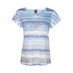 Women's Ojai Clothing Burnout Scoop Neck Short Sleeve Top Cobalt Grunge Stripe