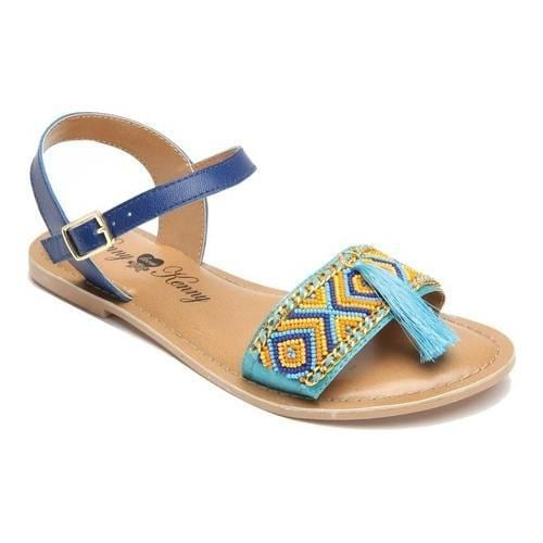 Women's Penny Loves Kenny Syclone Tassel Ankle Strap Sandal Blue Matte Polyurethane