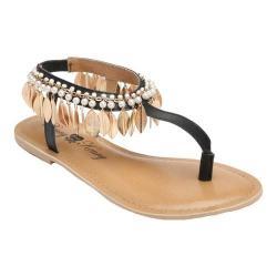 Women's Penny Loves Kenny Saffron Feather T-Strap Sandal Black Matte Polyurethane