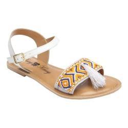 Women's Penny Loves Kenny Syclone Tassel Ankle Strap Sandal White Matte Polyurethane
