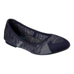 Women's Skechers Cleo Razz Dazz Ballet Flat Navy/Silver|https://ak1.ostkcdn.com/images/products/193/554/P23408123.jpg?impolicy=medium