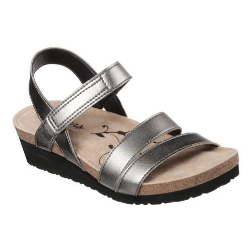 58bca172c0e Shop Women s Skechers Troos Brons Ankle Strap Wedge Sandal Pewter - Free  Shipping Today - Overstock - 17155985
