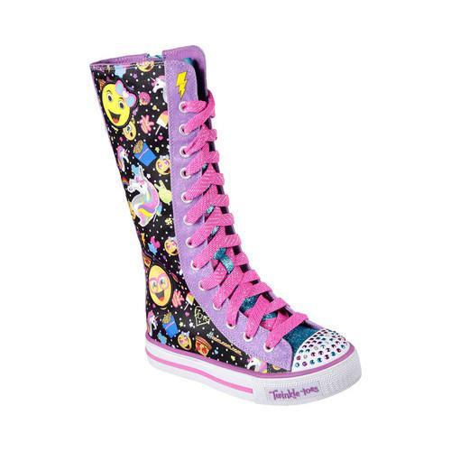 92a70ca3dbfc Shop Girls  Skechers Twinkle Toes Shuffles Chattin Up Tall High Top  Black Multi - Free Shipping Today - Overstock - 17155986