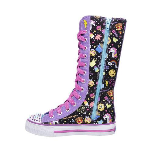 sketchers twinkle toe boots. girls\u0026#x27; skechers twinkle toes shuffles chattin up tall high top black/multi sketchers toe boots