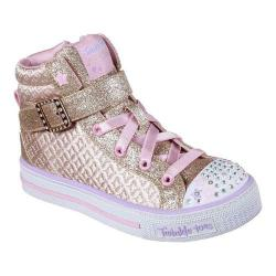 Girls' Skechers Twinkle Toes Shuffles Twinkle Charm High Top Gold/Pink