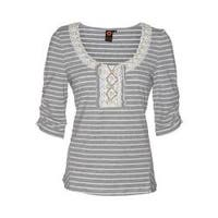 Women's Ojai Clothing Travel Striped Top Gray