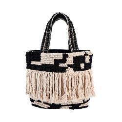 Women's San Diego Hat Company Woven Shopper Bag BSB3544 Black