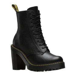 Women's Dr. Martens Kendra 10-Eye Hiker Boot Black Aunt Sally Tumbled Leather
