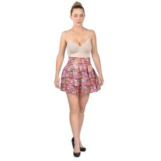 Women's Chiffon Coin Design Mini Skirt Ruffle High Waist Layered